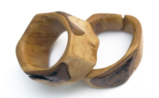 Custom Made Rustic Wood Bangles With Bark Detail