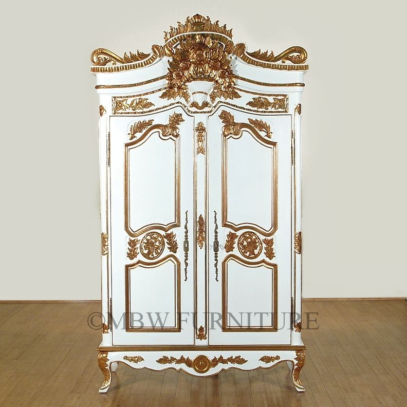 Custom Made 8ft Tall Solid Mahogany White Gold French Armoire Wardrobe Closet