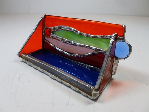 "Custom Made Multi-Colored Stained Glass Business Card Holder With Glass Gem ""Funky Fun''"