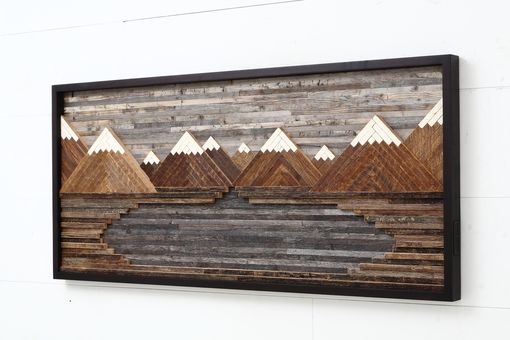 Hand Crafted Wood Wall Art Mountain Landscape 48 Quot L X 21