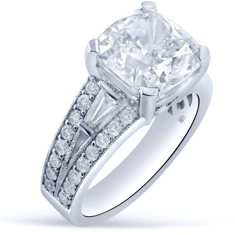 Custommade Diamond: Custom Antique Cushion Cut Moissanite & Diamond Engagement