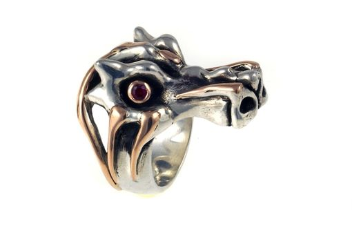 Custom Made Sterling And 14k Rose Gold Dragon Ring