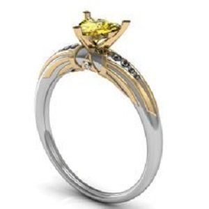 Custom Made Best Zora Sapphire 14k White And Yellow Gold Diamond Engagement Ring 0.71 Ct