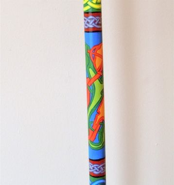 Custom Made Hand Painted Book Of Kells Celtic Walking Stick