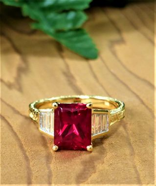 Custom Made Special Cut Diamond And Chatham Ruby Ring