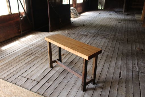 Custom Made Reclaimed Barn Wood And Bowling Alley Console Table