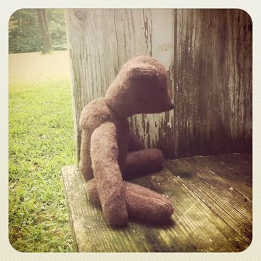 Custom Made Vintage Style Teddy Bear/ Hand Stitched /Embroidered Details /Reworked And Recycled Materials