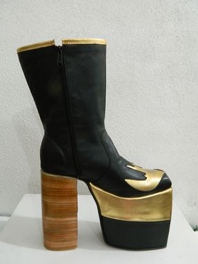 Custom Made Glam Platform Golden Swallow Genuine Leather Boots 70s Style Made To Order