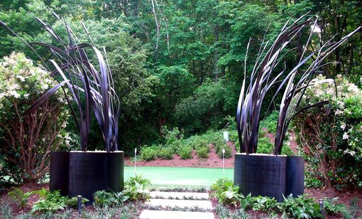 Custom Made Steel Garden Sculpture: Leaves And Grass