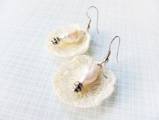 Custom Made Pearl - Mini Doilies Lace And Authentic Freshwater Pearl Earrings - Beautifully Packaged