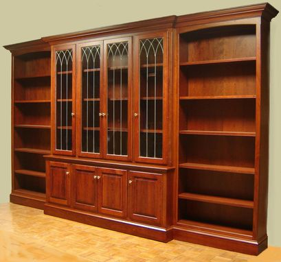 Custom Made Cherry Bookcase With Leaded Glass Doors And Open Side Bookcases