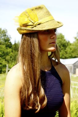 Custom Made Felted Wool Hat - Yellow Fedora With Peacock Feathers