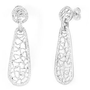 Custom Made Diamond Studded Dangling Earrings In 14k White Gold, Dangling Earrings, Ladies Earrings
