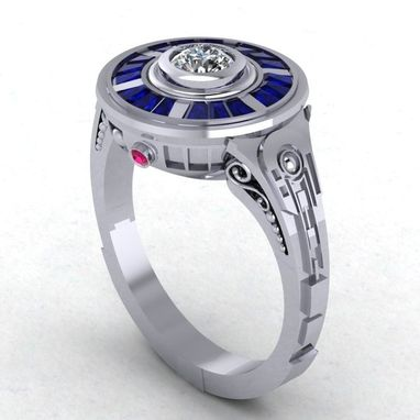 Custom Made R2d2 Impressions In 14 Karat White Gold - Engagement / Wedding Ring