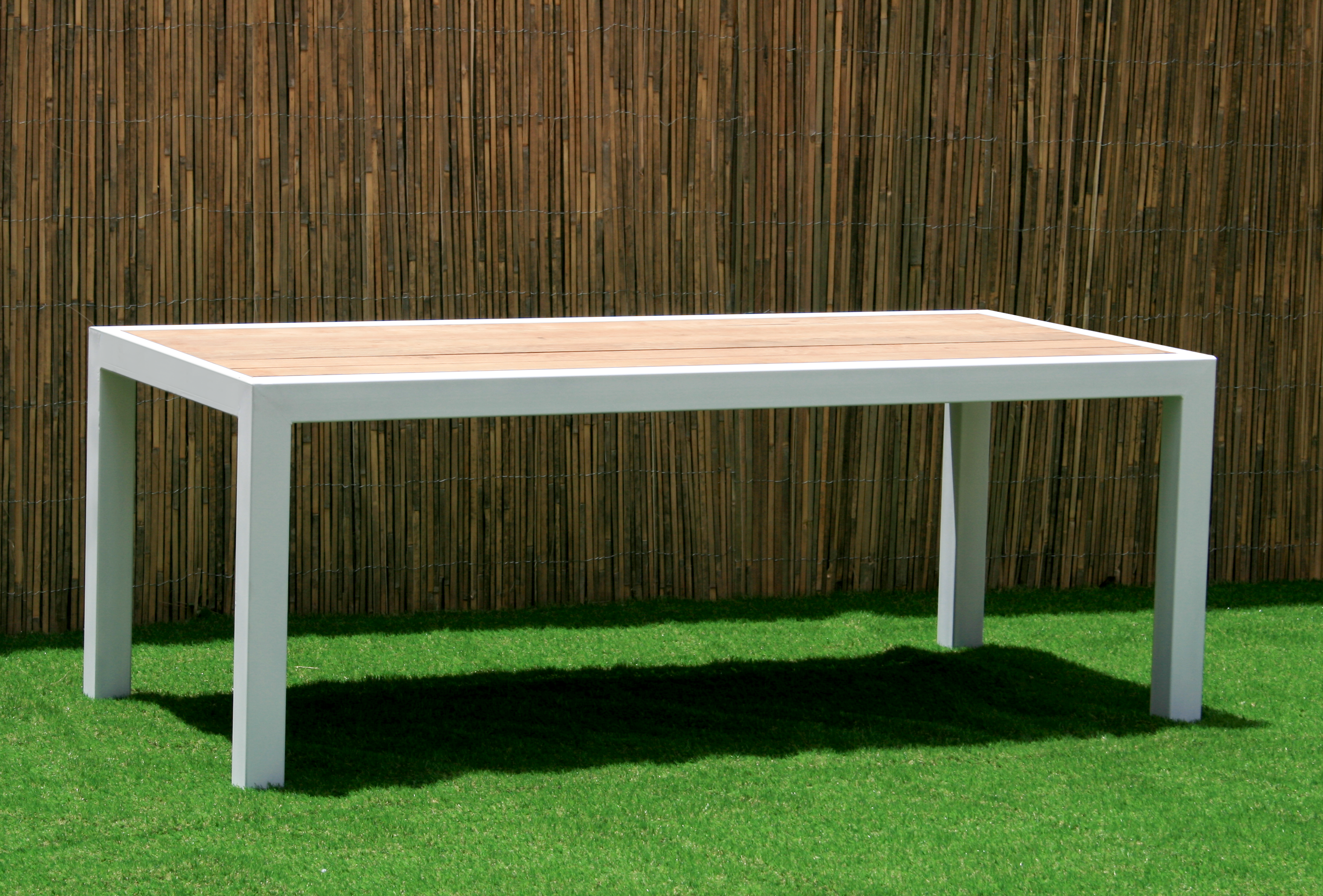 Custom outdoor furniture custom made modern patio table with teak top powder coated steel base custom outdoor