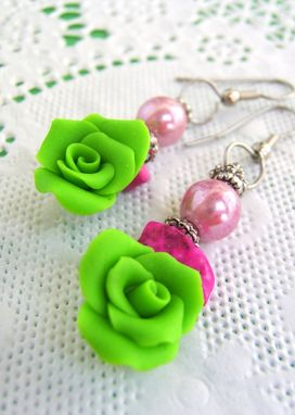 Custom Made Neon Green And Pink Earrings - Flowers Hand-Crafted In Polymer Clay
