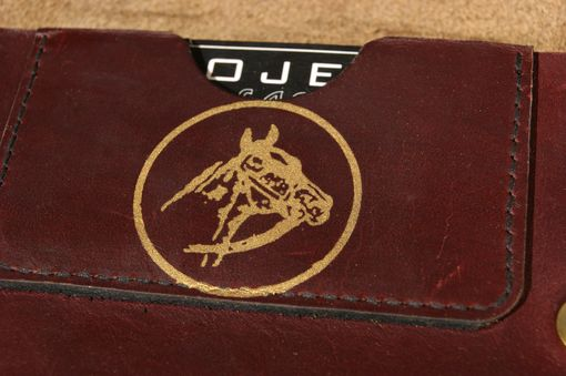Custom Made Circle Horse Leather Trucker Wallet - Oxblood/Gold