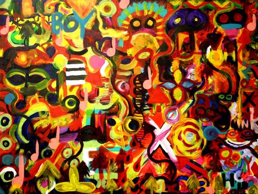 Custom Made Original Modern Abstract Art Painting On Canvas Titled: Get Funky