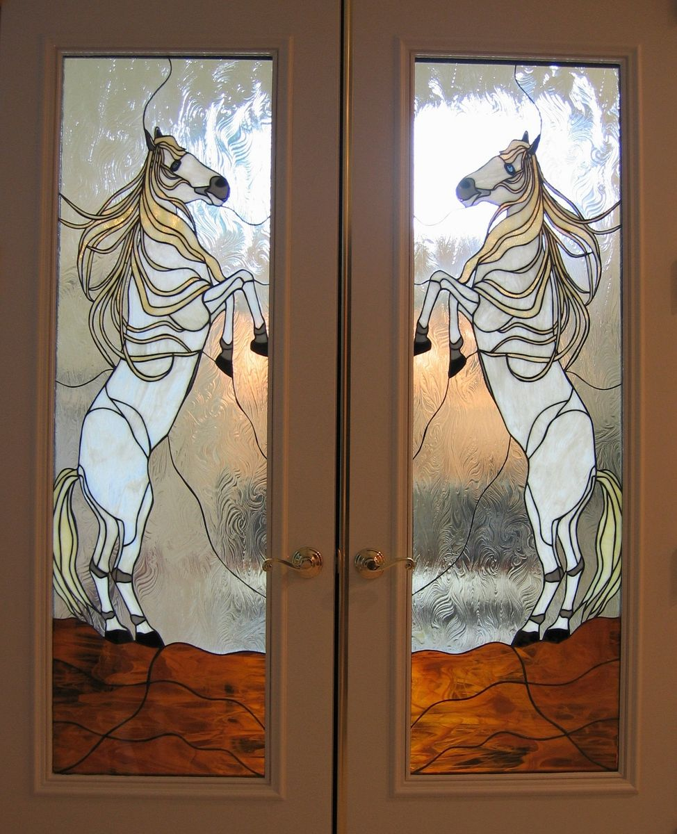 Hand Crafted Quot Wildhorses Quot Stained Glass French Door Panels