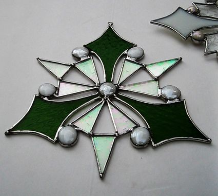 Custom Made Snowflake-Peace On Earth-In Iridescent Clear, And Moss Green Stained Glass