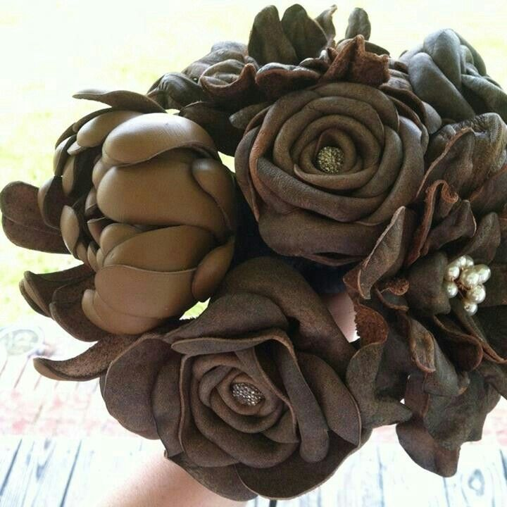 Custom Made Leather Flower Bridal Bouquets by DyJo Designs ...