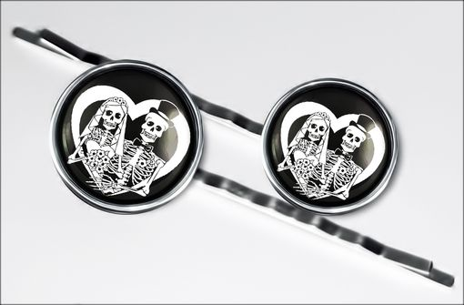 Custom Made Day Of The Dead Gothic Wedding Silver Hair Clip Set 66-Shc