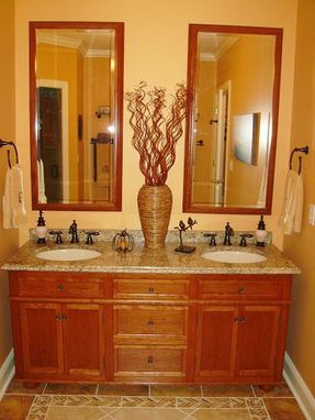 Custom Made Cherry Hardwood Vanity W/ Pair Of Matching Mirrors