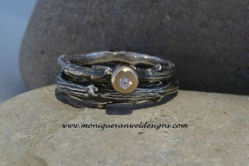 Custom Made Sterling Silver Engagement/Wedding Twig Ring With Diamond And 14k Yellow Gold Made To Order