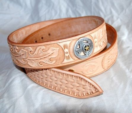 Custom Made Hand Tooled Leather Belt