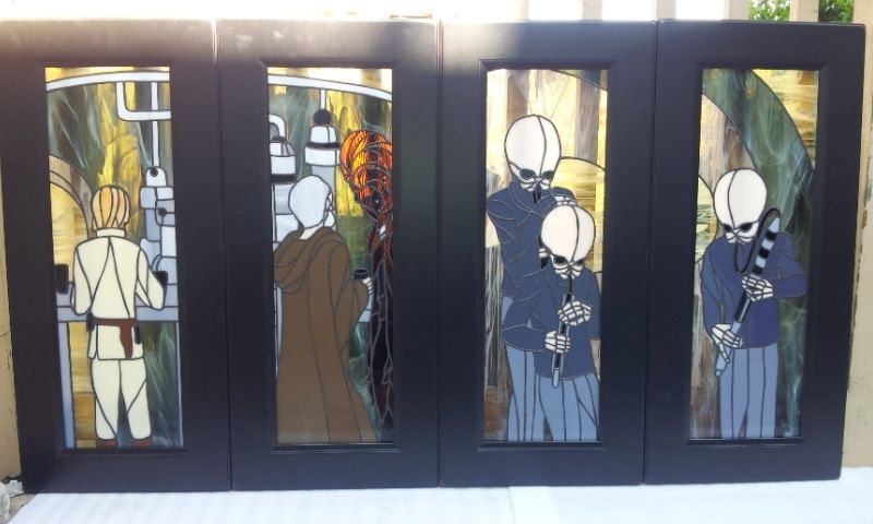 Custom Made Stained Gl Cabinet Inserts Star Wars Scene Ci 11