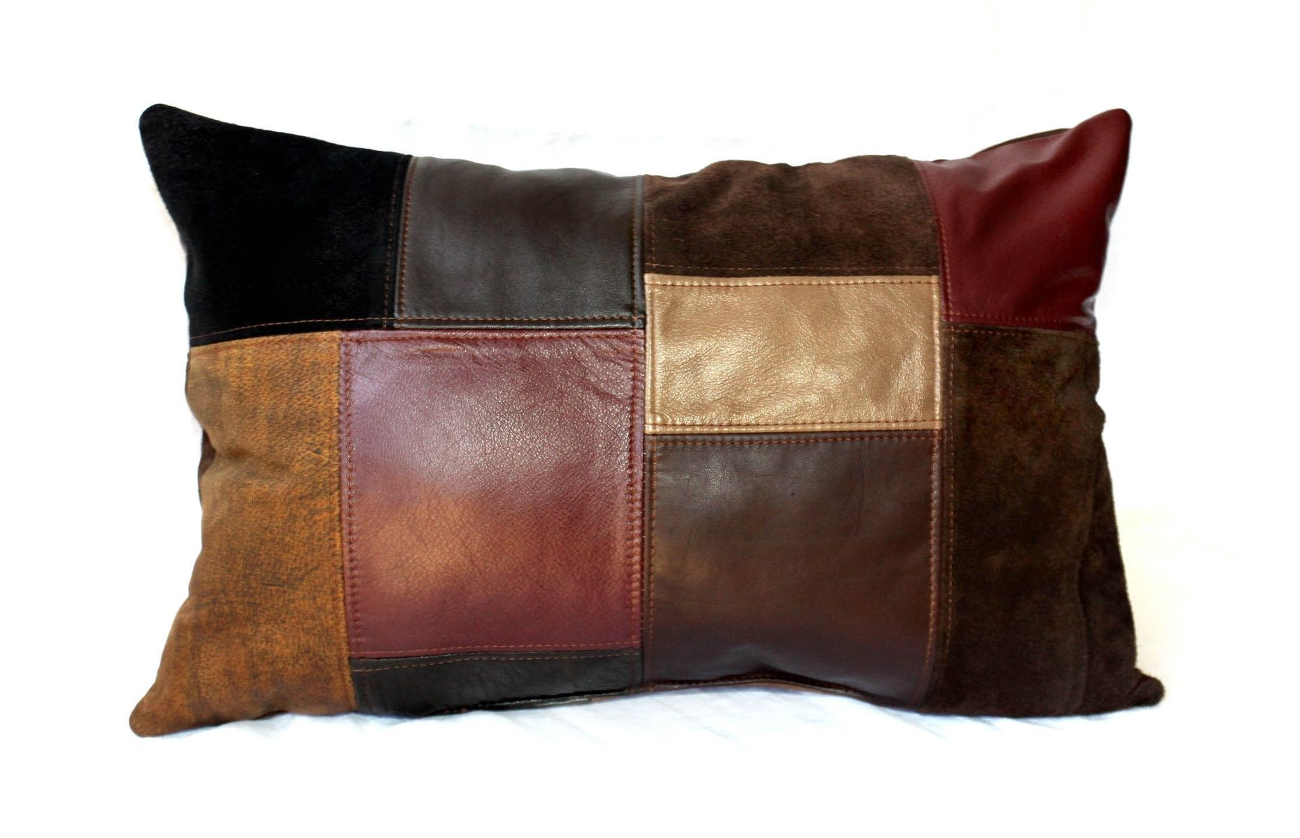 Austin Bedroom Furniture Hand Crafted Upcycled Leather Patchwork Pillows Small