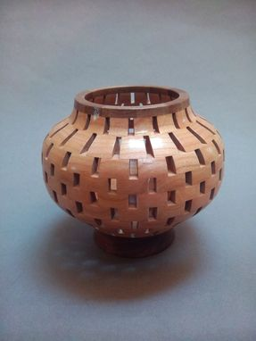 Custom Made Black Walnut With Cherry Open Segmented Decorative Hollow Form