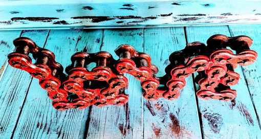 Custom Made Bike Chain Art - Large Love Sign Signage Welded Chain Art