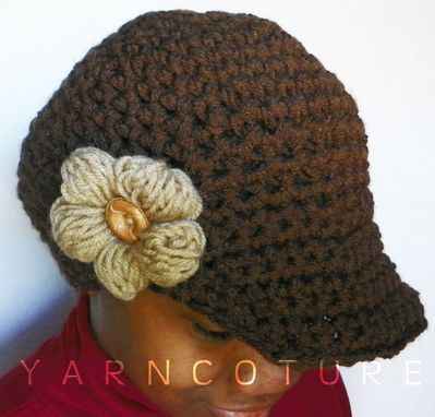 Custom Made The Puff Flower Brimmed Beanie - In Chocolate Brown