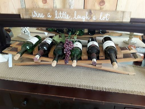 Custom Made 6 Bottle Wine Barrel Stave Wine Rack