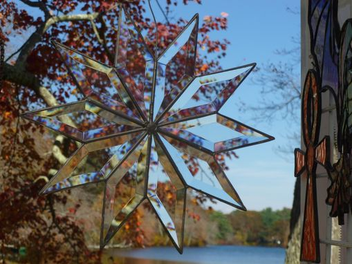 Custom Made Snowflake Light Catcher In Beveled Glass