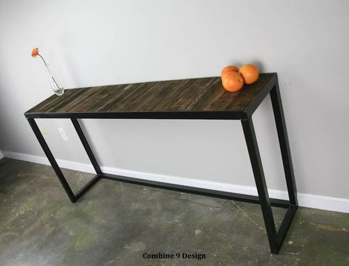 Custom Made Sofa Table. Steel/Reclaimed Wood. Modern/Urban/Vintage. Console Table, Industrial Style Loft Decor.