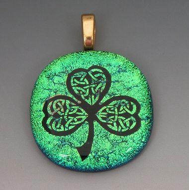 Custom Made Laser Etched Dichroic Fused Glass Shamrock Pendant