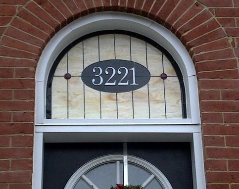 Custom Made Stained Glass Window Panel - Transom With House Number 3221 (Am-28)