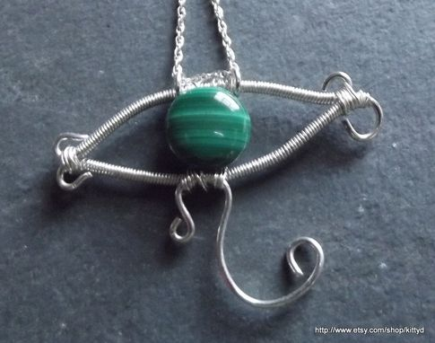 Custom Made Hand Forged Green Malachite Eye Of Horus Sterling Wire Wrapped Pendant Necklace