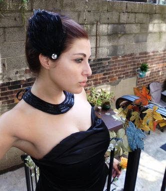 Custom Made Sale Black Swan Feather Hair Fascinators Halloween Costume, Set Of 2 Black Feather Fascinators
