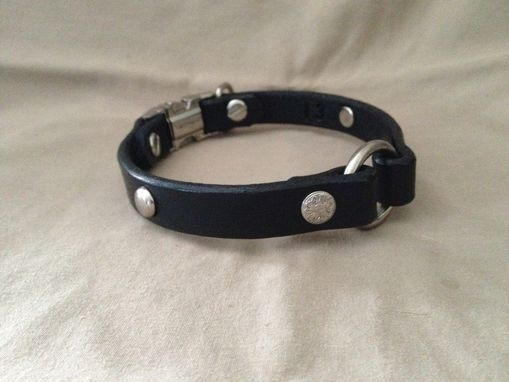 Custom Made 2 Pc .Black Collar For Small / Medium Size Dog