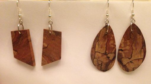 Custom Made Wood And Silver Earrings