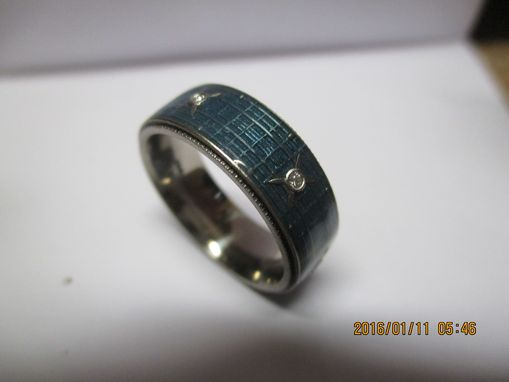 R S Ringworld Halo Video Inspired Men Wedding Band With Diamonds