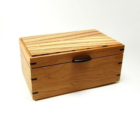 Custom Made Cherry And Zebrawood Keepsake / Jewelry Box