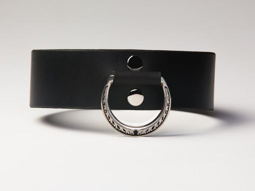 Custom Made Leather Bondage Collar - Black Latigo