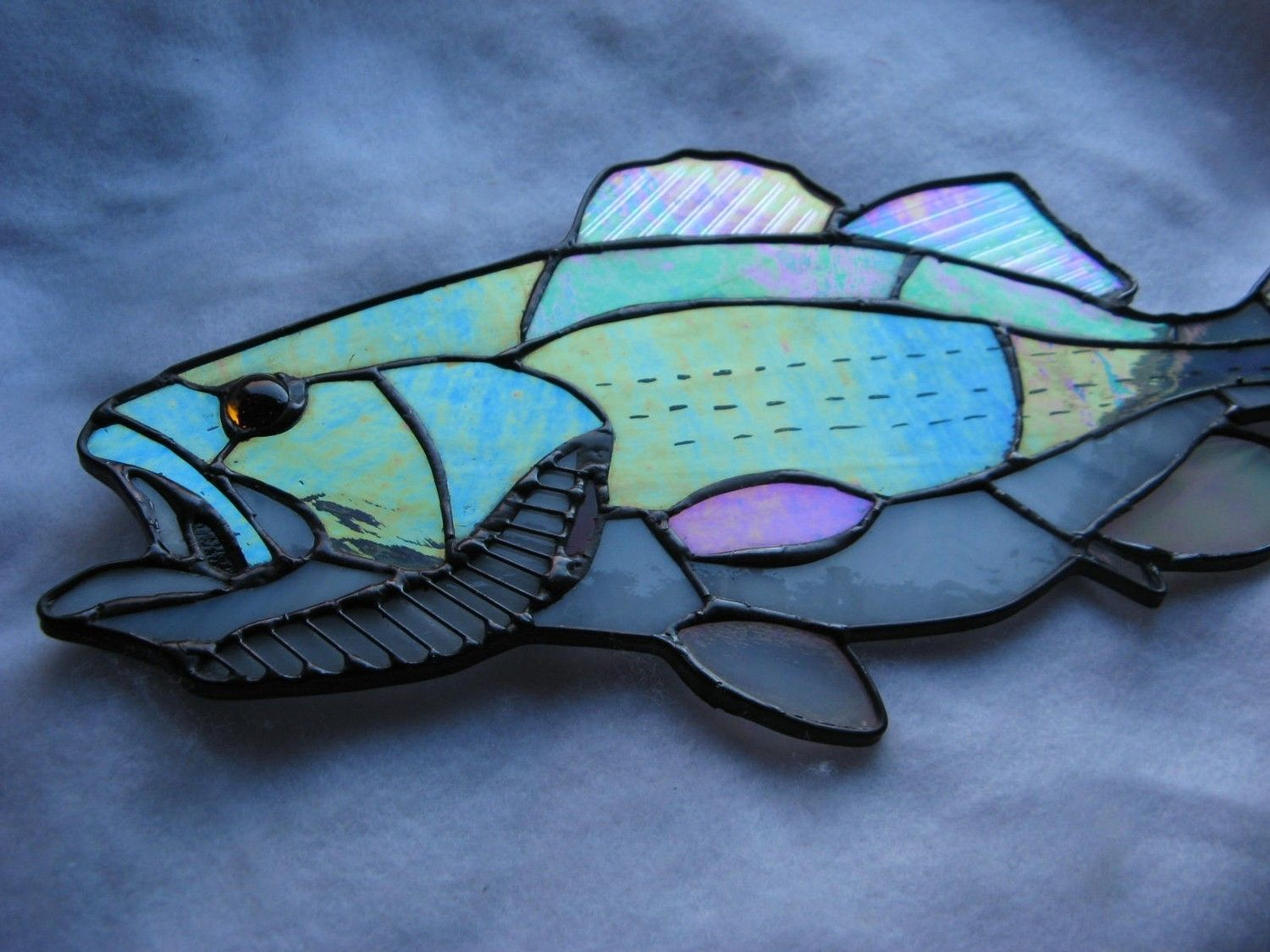Buy A Hand Made Striped Large Mouth Bass Stained Glass Art Made To Order From Glass Monkey Arts York Stained Glass Custommade Com