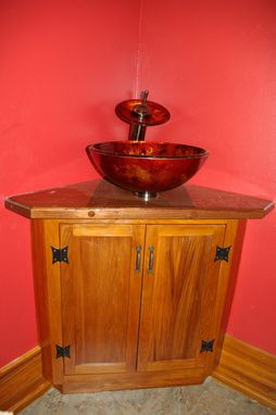 Custom Made Built In Vanity Cabinet With Maple Top.