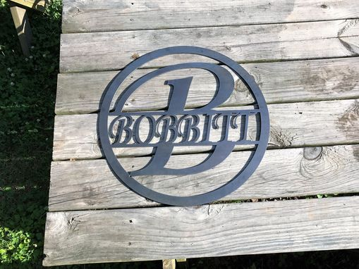 Custom Made Custom Plasma Cut Sign With Name And Initial