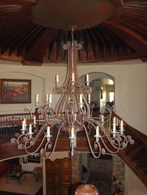 Custom Made Four Tier Chandelier, Fabricated Metal Sculpture